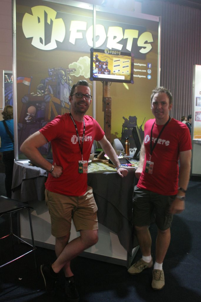Nick and Tim in front of the Forts stand at PAX Aus 2015